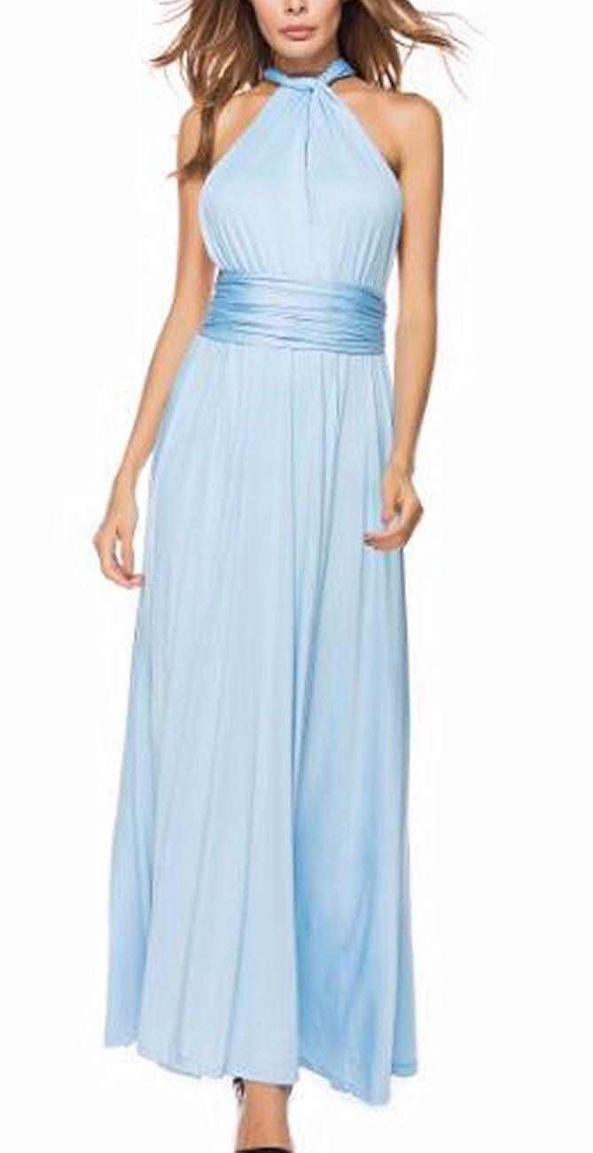 TALLA M. EMMA Mujeres Falda Larga de Cóctel Vestido de Noche Dama de Honor Elegante sin Respaldo Azul Eléctrico