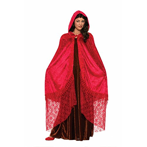 Teen Little Red Riding Hood Costumes - Forum Novelties Women's Medieval Fantasy Elegant Cape with Lace, Ruby, One Size