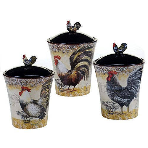 Ceramic 3 Piece Vintage Rooster Canister Kitchen Accessory Set