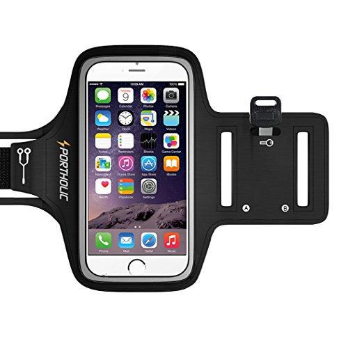 Sportholic® Wasserfestes Sport-Armband -LEBENSLANGE GEWÄHRLEISTUNG - Mit Schlüsselhalter, Kabelfach, Kartenhalter für iPhone 6/6S,Galaxy S6/S5/S4,iPhone 5/5C/5S bis 5.1 Inch (Schwarz)