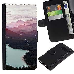 iBinBang / Flip Funda de Cuero Case Cover - Lakes Forest Trees Clouds - Samsung Galaxy S6 SM-G920