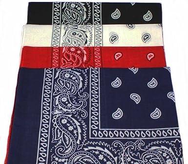 9a58cfbf81dd PURECITY©® Lot de 4 foulard bandana américain tour de cou paisley USA -  Rouge