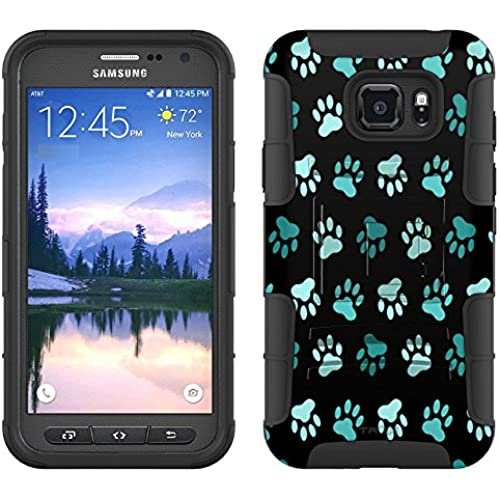 Samsung Galaxy S7 Active Armor Hybrid Case Turquoise Paw Pattern on Black 2 Piece Case with Holster for Samsung Sales