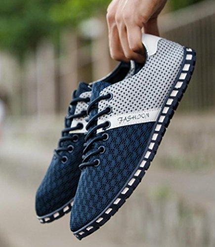 Estilo del de Malla la Transpirables de Hombres de Azul Ocasionales la Deporte Manera Nuevos Cómodas Landfox Planos Zapatillas Zapatos pwqXYgSq