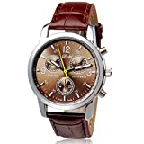 ONEMORES(TM) New Luxury Fashion Crocodile Faux Leather Mens Analog Watch Watches (Brown)