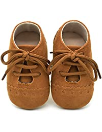 Baby Boys Girls Soft Sole Moccasins Lace-up Infant Toddler Shoes Sneaker (Brown 1)