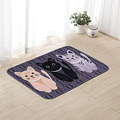 Elohas Go Away Rubber Deep Blue Welcome Doormat Runner Inserts Indoor Natural Easy Clean Cute Cat Floor Rug Door Mats For Entry Way Patio, Front Door, All Weather Exterior , 16X24""