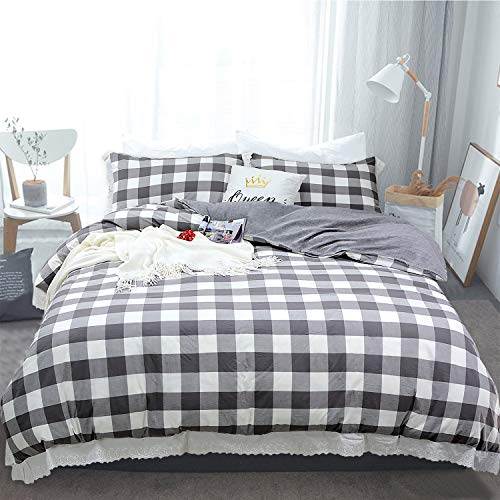 Softta Vintage Ruffle Buffalo Plaid Bedding Set 3 pcs 100% Pure Natural Yarn Dyed Washed Cotton 1 Duvet Cover + 2 Pillowcases Check Pattern Grey and White Grid California King Size California King Plaid Comforter
