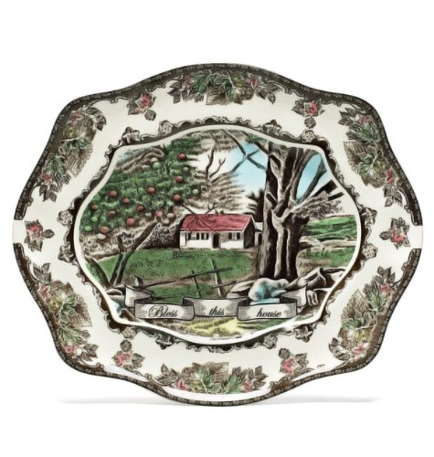 Johnson Brothers Friendly Village Bless This House Bread Tray  12 Inch
