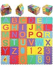 swonuk Puzzle Tapis Mousse Bébe, 36 Pièces Tapis de Jeu pour Enfants, Puzzle Mousse Alphabet & Chiffres