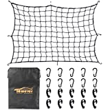 Towever 3'x4' Bungee Cargo net Pickup Truck Bed Long Stretches to 6'x8' 8cm x 8cm Mesh Net Small Large Cargo Loads Tighter for Rooftop Cargo Carrier