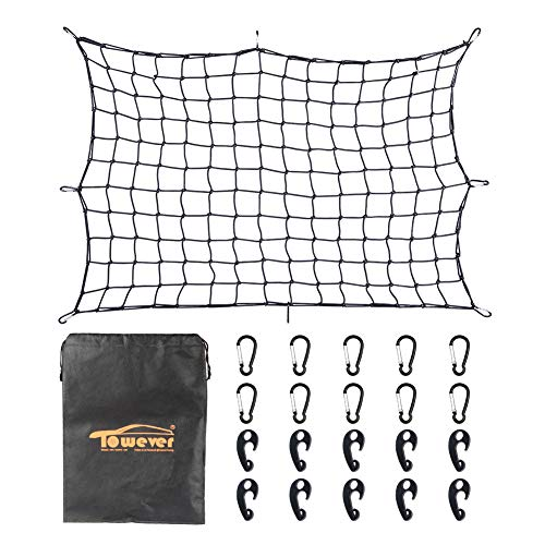Towever 3'x4' Bungee Cargo Net Long Stretches to 6'x8' 8cm x 8cm Mesh Net Small Large Cargo Loads Tighter for Rooftop Cargo Carrier (X Net 36 Cargo 24)