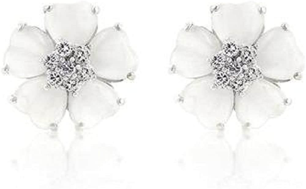 Freedom Fashion White Flower Nouveau Earrings