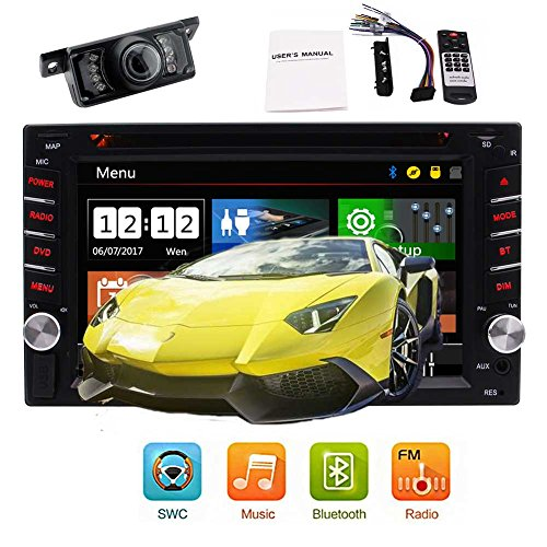 Bacup Camera + 6.2''Car Stereo Radio Double 2IN Capacitive Multi-Touch Screen Car DVD Player in-Dash Car Audio AM/FM Autoradio Bluetooth USB SD 1080P Optional UI Automotive + Colorful Button