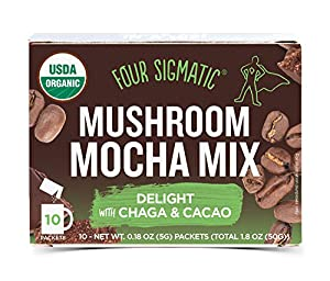 Four Sigmatic Mushroom Mocha, USDA Organic Coffee and Cacao with Chaga mushrooms, Vegan, Paleo, 10 Count