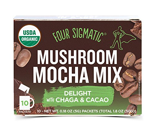 Four Sigmatic Mushroom Mocha - USDA Organic Coffee and Cacao with Chaga Mushrooms - Vegan, Paleo - 10 Count -