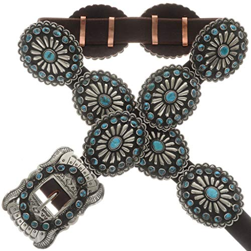 Genuine Natural Turquoise Silver Concho Belt Old Pawn Style 0028 ()