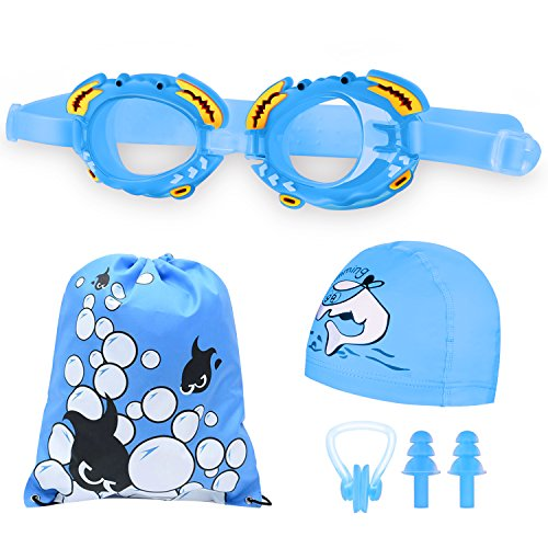 JH-LI Swim Cap and Swim Goggles Set for Kids, Waterproof and Anti-fog Swim Goggles for Children, Boys and Girls Silicone Cartoon Waterproof Swim Cap, with Nose Clip, Ear Plugs and Carry Bag, Blue - Bag Cap