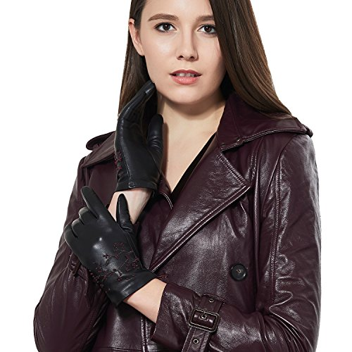 GSG Womens Embroidery Touchscreen Gloves Vivid Cherry Blossom Winter Driving Gloves Texting Italian Genuine Leather Black 8 by GSG (Image #8)