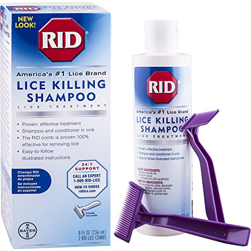 RID Lice Killing Shampoo, Proven Effective Head Lice Treatment for Kids and Adults, Includes Nit Comb, Bottle, 8.0 ()
