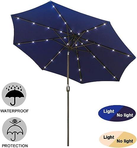 SFJ-CA 9ft Patio Umbrella with LED Solar Lights Outdoor Umbrella Table Market Umbrella with Tilt Adjustment, Fade-Resistant Oxford Fabric, Navy Blue