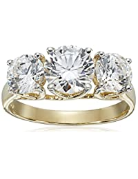 10k Yellow Gold Three-Stone Swarovski Zirconia Ring