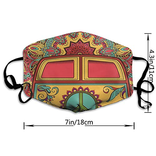 SGHGSAxbh Hippie Vintage Mini Van Ornamental Backdrop Peace Sign Face Mask Dust Mask Anti Pollution Face Mask Washable Cotton Mouth Mask Men and Women for All Ages