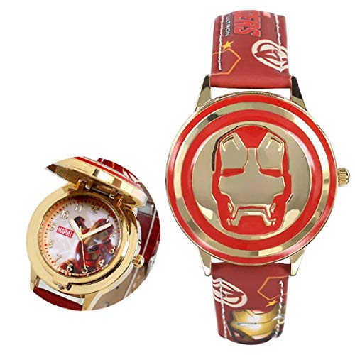 Ironman Watch for Boys and Girls | Soft Leather Strap Quartz Wrist Watches for Kids | Marvel Iron Man Wrist Watch | Waterproof Kids Watch (Red) -