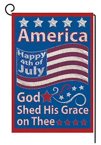 BLKWHT 4th of July Garden Flag Double Sided Independence Day Decorative 12.5 x 18 Inch