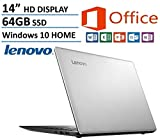 Lenovo IdeaPad 14'' High Performance Laptop, Intel Celeron Dual-Core Processor, 2GB RAM, 64GB eMMC HDD, Webcam, WIFI, HDMI, USB 3.0, NO DVD, Windows 10, 1 Year Microsoft Office 365