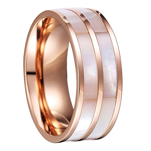 Double Shell Stripe Inlay Cut High Polish Rose Gold Stainless Steel Band Wedding Ring Men Women (Double Stripe Wedding Band Ring)