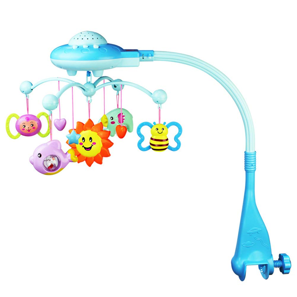 Pink Baby Musical Mobiles,Crib Projection Mobiles Music Bed Bell Hanging Rotating Rattle Cot Toys Baby Soothers Sound Educational Toy for Infant Toddler