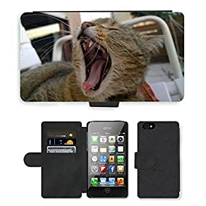 Hot Style Cell Phone Card Slot PU Leather Wallet Case // M00109681 Cat Yawn Cat Yawns Dear Playful // Apple iPhone 4 4S 4G