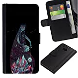 UPPERHAND ( Not For HTC ONE Mini 2) Stylish Image Picture Black Leather Bags Cover Flip Wallet Credit Card Slots TPU Holder Case For HTC One M8 - teal mountains god night black green