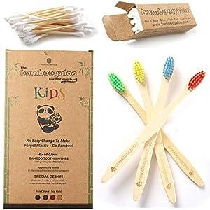 Bamboogaloo Brosses à dents en Bambou pour Enfants – Biologique et Écologique, Lot de 4, Avec Cadeau de Coton-Tige en…