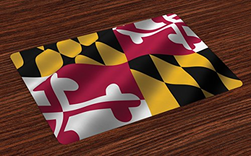 Lunarable American Place Mats Set of 4, Flag of the US State of Maryland Closeup 3D Style Picture Waving America National, Washable Fabric Placemats for Dining Room Kitchen Table Decor, Multicolor