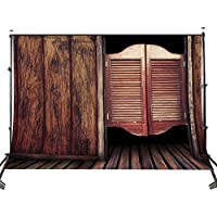 Lyly County Photo Background 7x5ft Western Bar Style Wood Door and Floor Photography Backdrops Studio Props Wall PB596