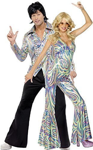 Couples Ladies AND Mens 70s 1970s Disco Diva Hippie Hippy Fancy Dress Costumes Outfits (UK 8-10 - Men: Medium)