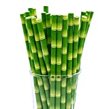CTIGERS Bamboo Print Biodegradable Drinking Paper Straws for Party Box of 100