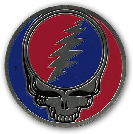 Peacemonger Grateful Dead 3.25 Inch Large Brass Steal Your Face SYF Metal Embossed Sticker Decal