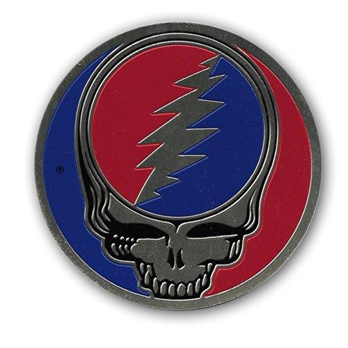 """Peacemonger 2"""" Brass Steal Your Face Art Decal Grateful Dead Head Skull Bob Weir"""