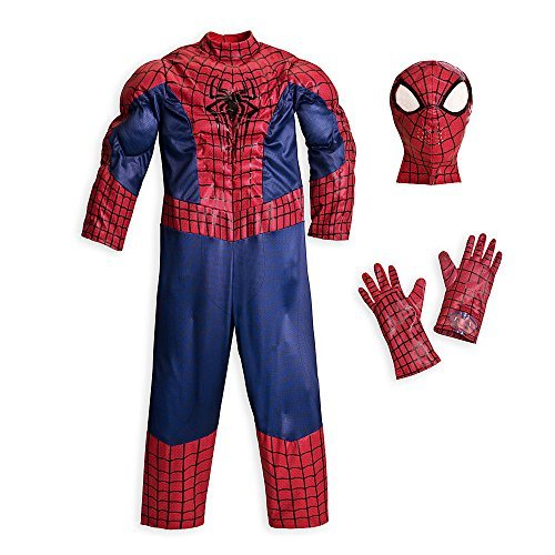 Disney Store Deluxe Amazing Spiderman Spider Man Costume Halloween XXS 2 (Amazing Spider Man 2 Costume Pattern)