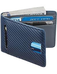 Mens Leather Wallet Slim Front Pocket Wallet Billfold RFID Blocking