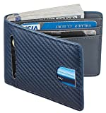 Casmonal Mens Leather Wallet Slim Front Pocket Wallet Billfold RFID Blocking (carbon fiber leather blue)