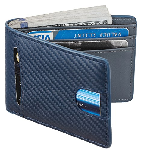 - Casmonal Mens Leather Wallet Slim Front Pocket Wallet Billfold RFID Blocking (carbon fiber leather blue)