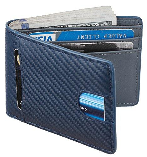 Casmonal Mens Leather Wallet Slim Front Pocket Wallet Billfold RFID Blocking (carbon fiber leather blue)