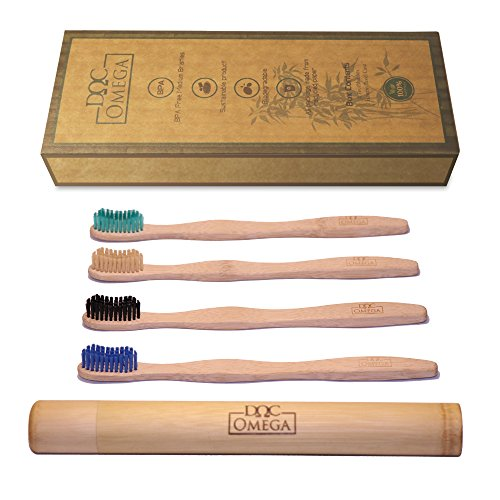 Doc Omega 4 Biodegradable Medium Bamboo Toothbrushes and 1 Bamboo Travel Case by Eco Omega Solutions