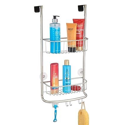 mDesign rangement de douche suspendu à la porte de la douche – étagère de  douche pratique – montage sans perçage – accessoire de rangement salle de  ...