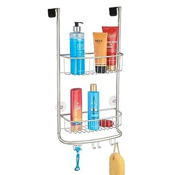 mDesign Estantería de ducha para colgar sobre la mampara – Práctico  colgador para ducha con colocación b46f32283855