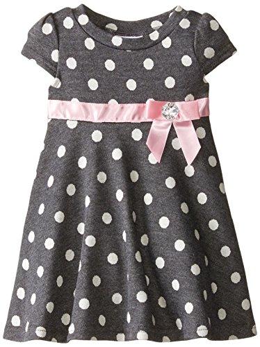 Blueberi Boulevard Baby Girls' Dot and Bows Knit Dress, Grey, 18 Months (Blueberi Dress Boulevard)